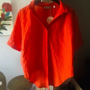 🍊 Orange Button Up Short Sleeve Blouse 🍊